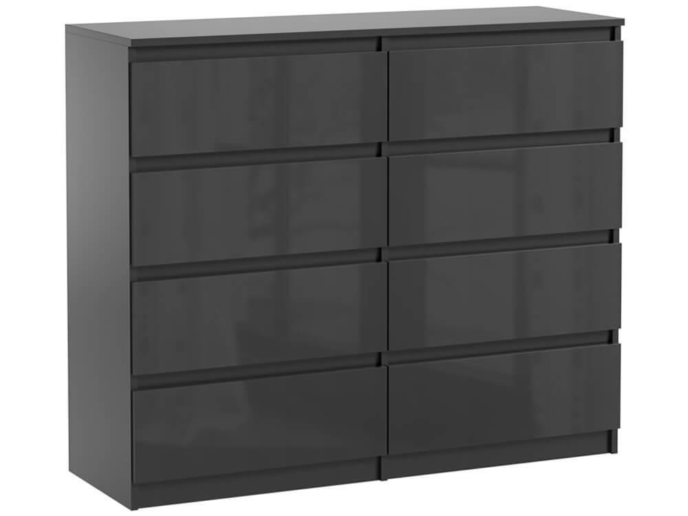 commode 8 tiroirs pari 8 noir laque 99 5 x 120 x 35 cm
