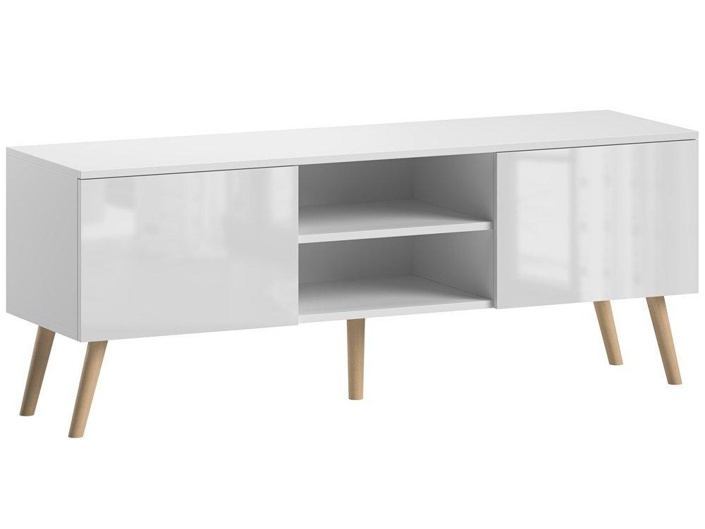 meuble tv romeo blanc brillant 140 cm