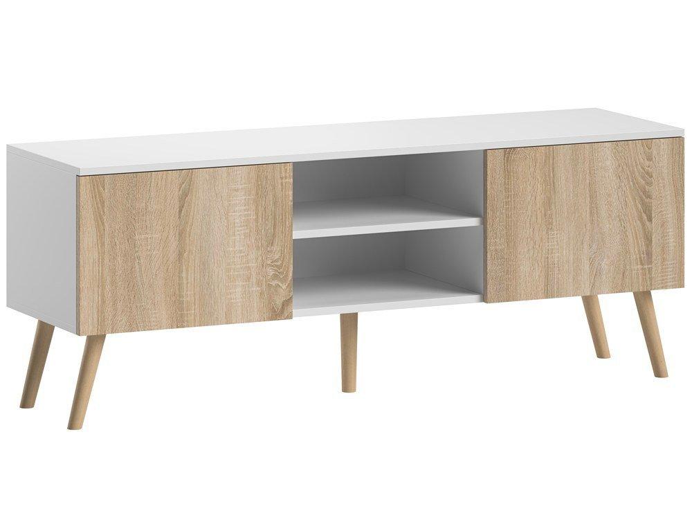 meuble tv romeo blanc mat et chene sonoma 140 cm