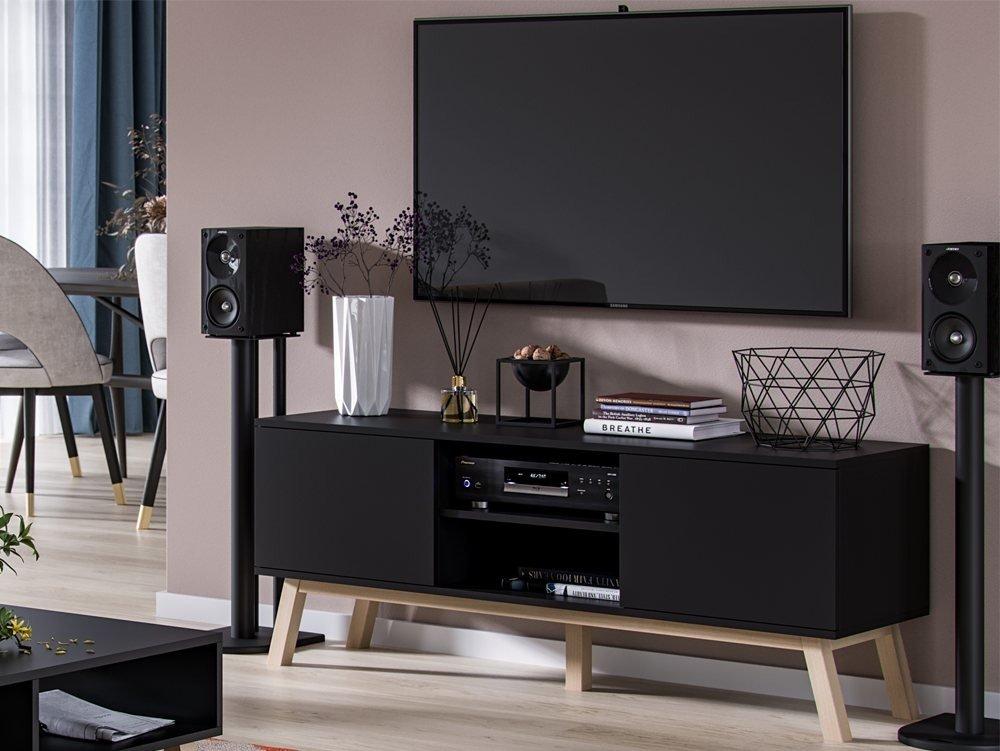 meuble tv avec rangement clyde noir mat 140 x 40 x 56 cm
