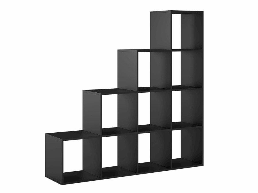 meuble bibliotheque pythagore 10 compartiments noir 138 x 138 x 30 cm