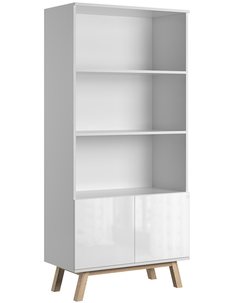meuble bibliotheque vero blanc brillant