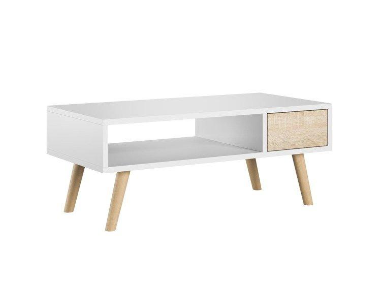meubles de salon table basse juliette et meuble tv romeo blanc et chene sonoma