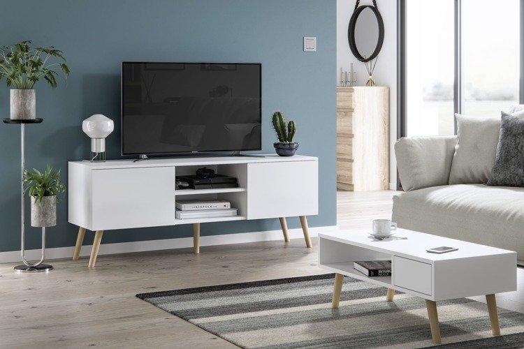 meubles de salon table basse juliette et meuble tv romeo blanc mat