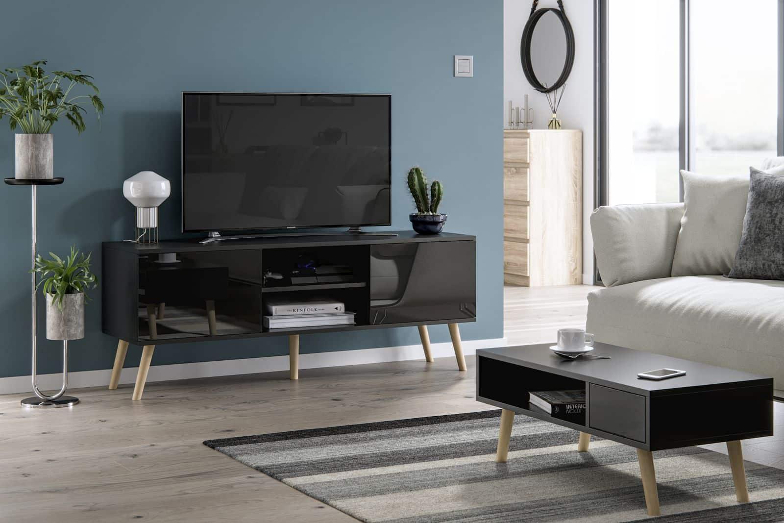 meubles de salon table basse juliette et meuble tv romeo noir brillant