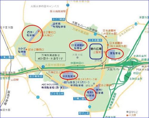 万博記念公園駐車場詳細図