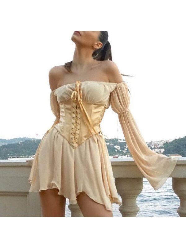 Fashion off shoulder long sleeve mini dress