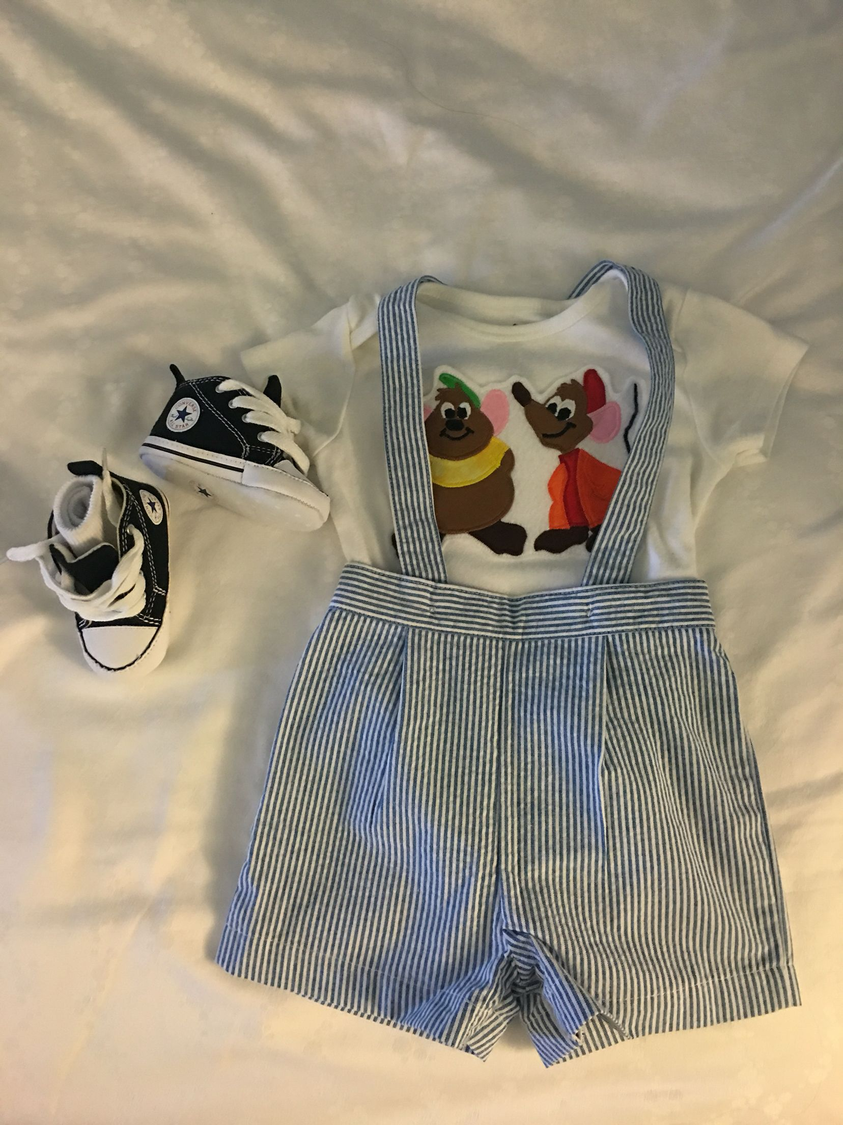 The perfect outfit for a baby boy to wear to Cinderella's Royal Table in Cinderella's Castle in Disney World. Gus and Ja...