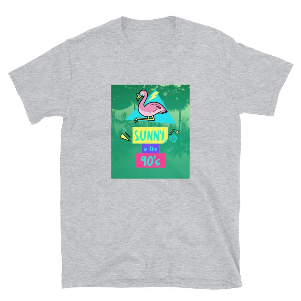 Sunny in the 90's Unisex 1990's Style Colorful Flamingo T-Shirt - Sport Grey / S