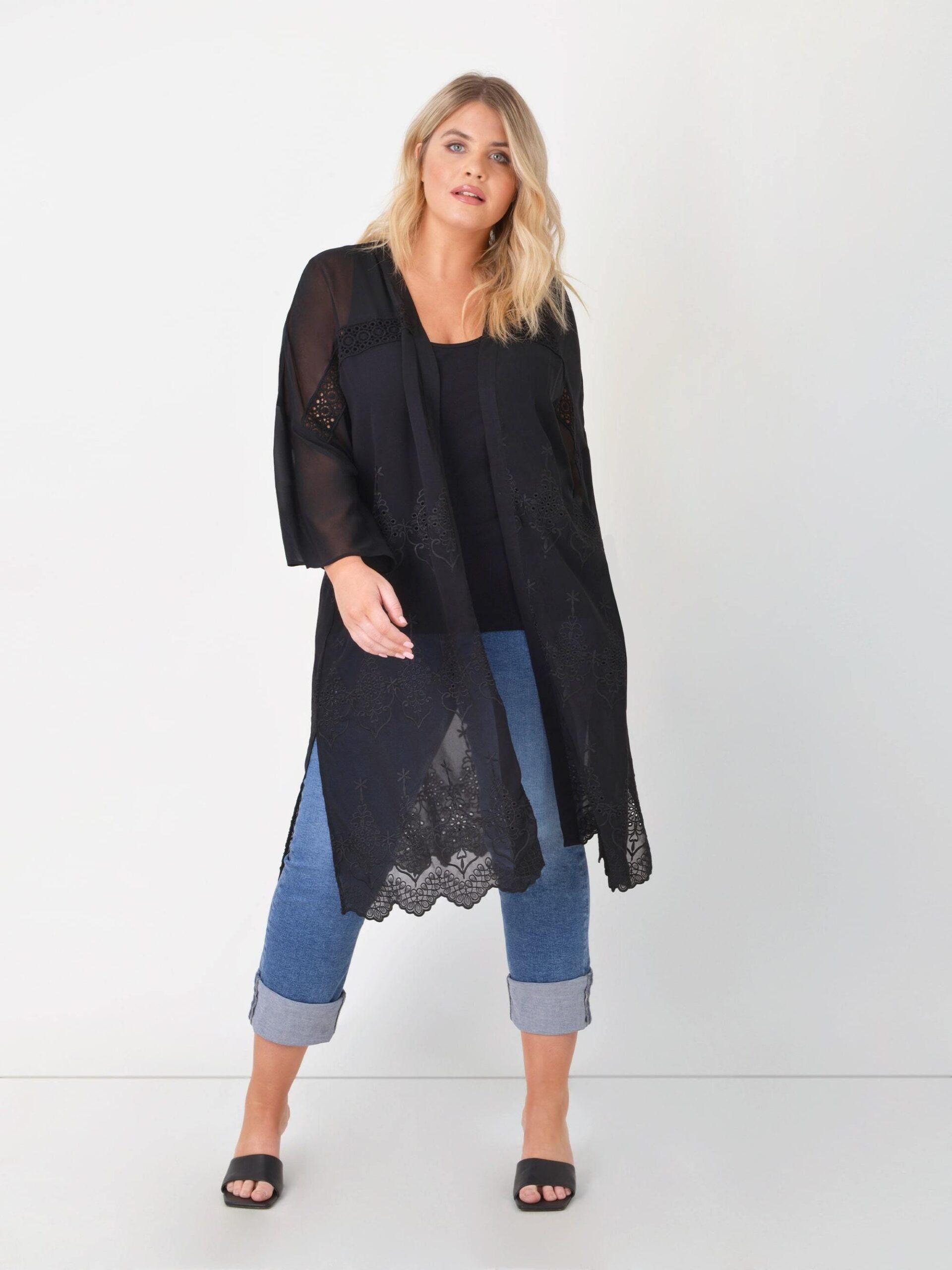 Black Embroidered Chiffon Kimono - Black / 18