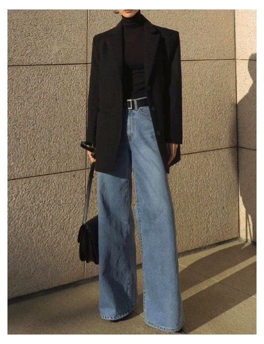 wide denim jeans outfit