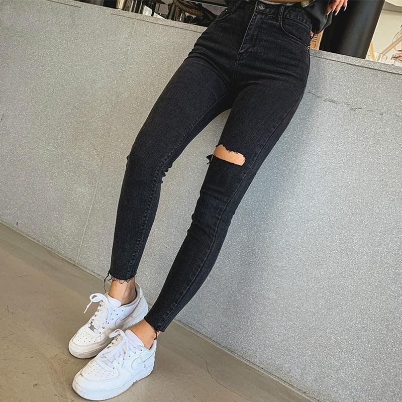 Women's High Waist Tassel Ripped Denim Jeans - 25 / Black