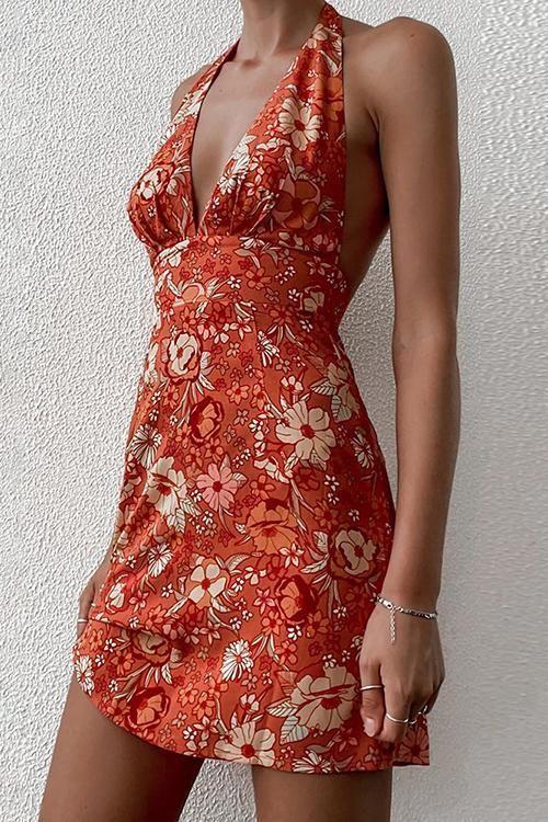 Print Halter Neck Backless Mini Dress - L / Orange