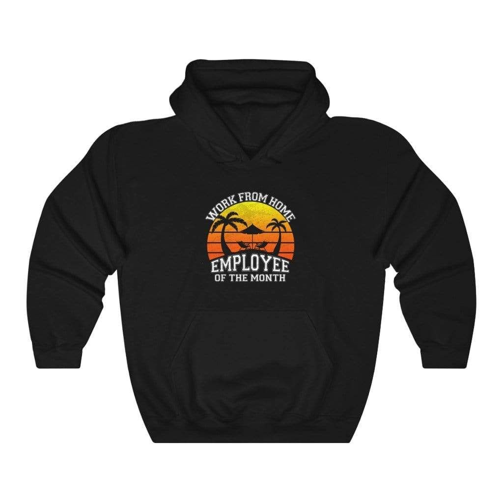 Vintage Work From Home Employee of The Month Beach Sunset Hoodie - Black / S