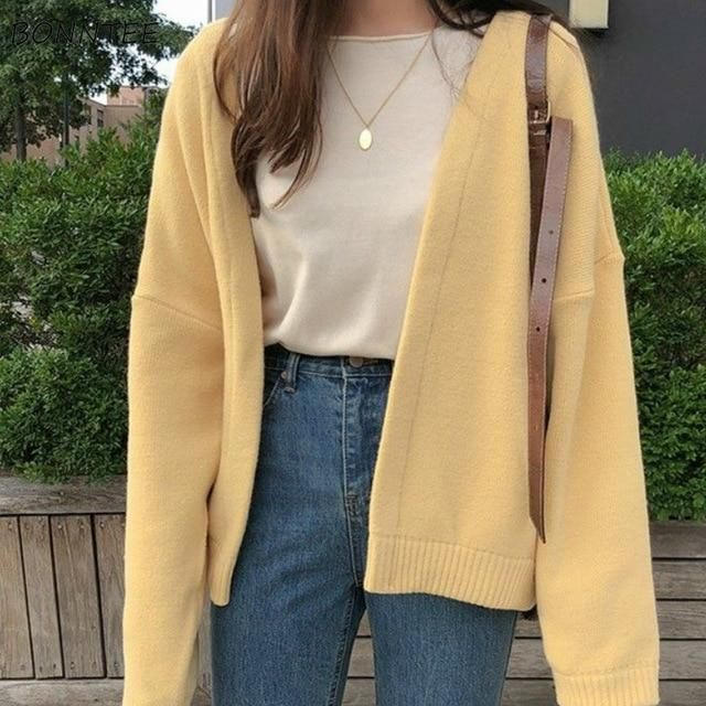 2020 Autumn Winter Women Cardigan Warm Knitted Sweater Jacket Pocket Embroidery Fashion Knit Cardigans Coat Lady Loose Sweaters - L 6 / 1