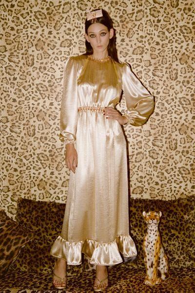 Sheila Gold Satin Ruffle Midi Dress - Made to Order