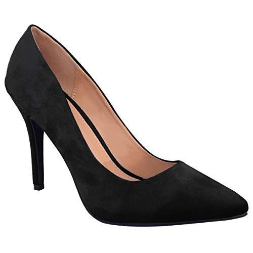 Ladies Low MID HIGH Heel With Pointed Toe Pumps In Court Shoes Style - Red Suede / 6 UK