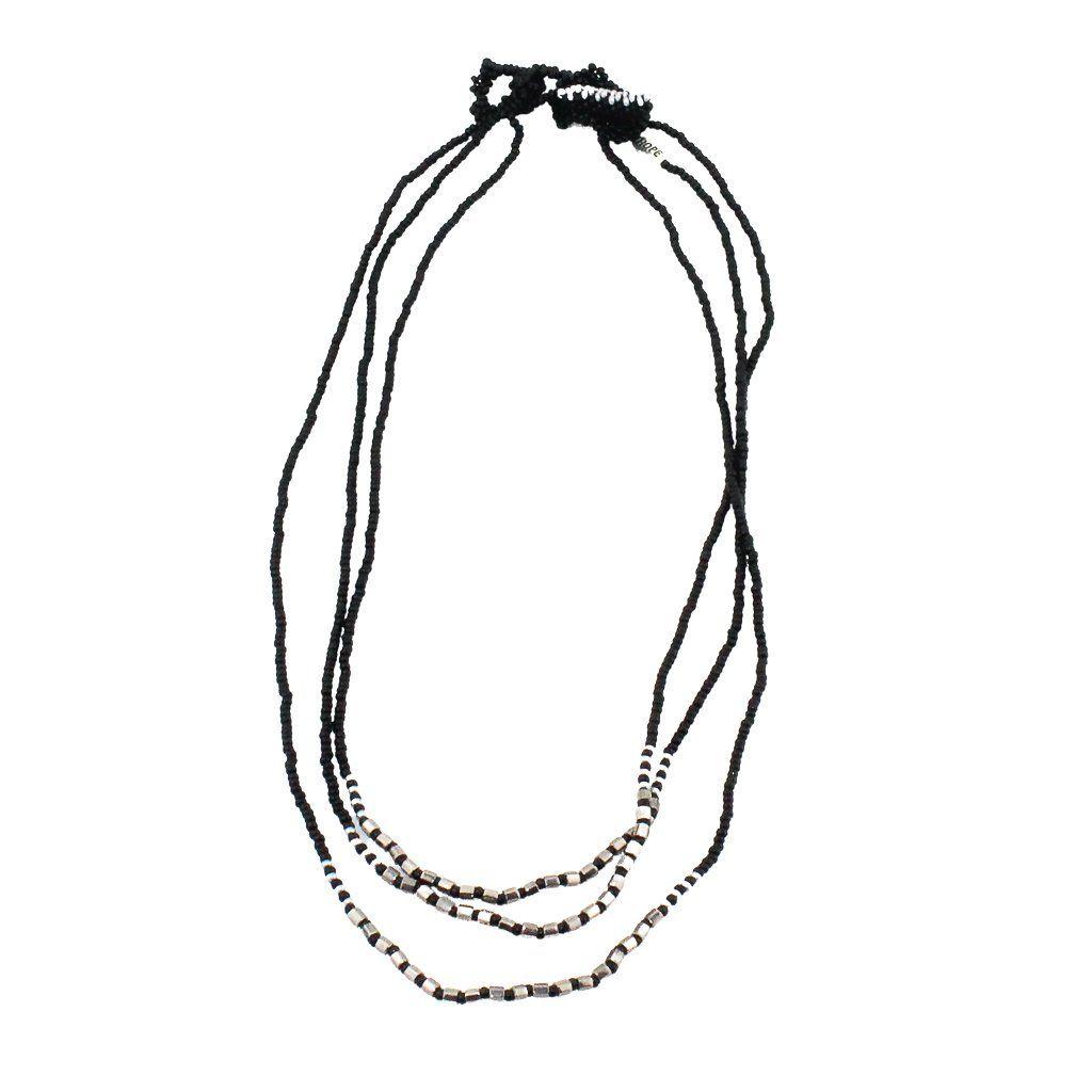 Malerie Necklace - Black & Silver
