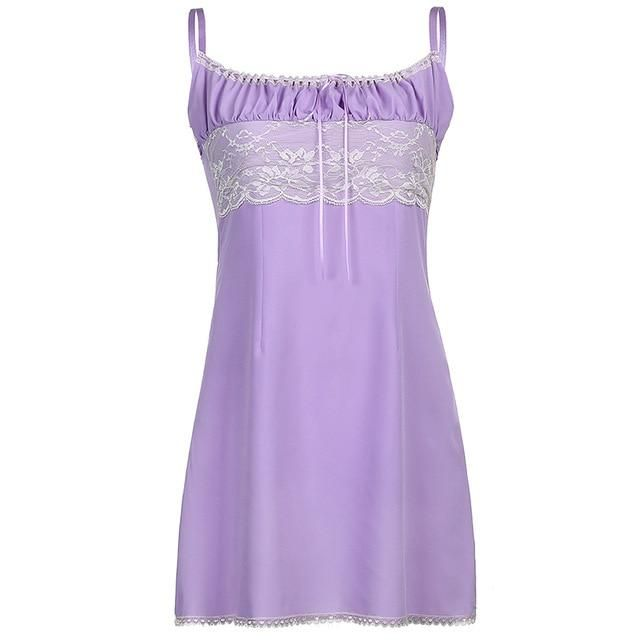 HEYounGIRL Purple Y2K Sleeveless Mini Short Dress Women Summer A Line Backless Dresses Ladies Ruched Tie Up Party Streetwear - Lavender / M