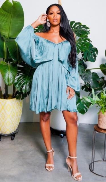 Oversized Loose Ruffled Satin Dress - Light  Blue / S / United States