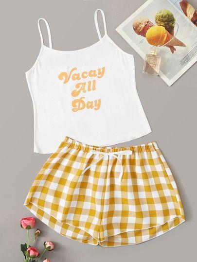 Letter Graphic Cami & Plaid Pants PJ Set