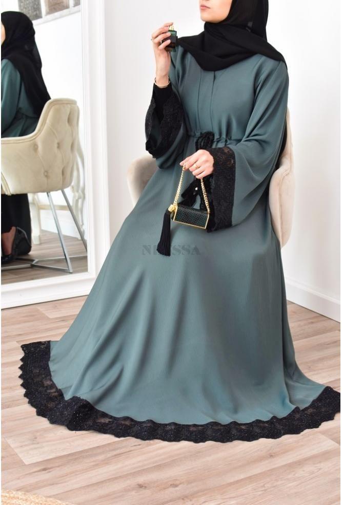Robe abaya Dubai évasée verte avec dentelle parfaite pour l'eid 2021