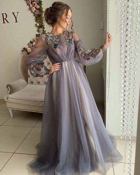 Long Sleeve Prom dresses, long prom dress, evening dress,prom dresses,prom dress - As Picture / US12