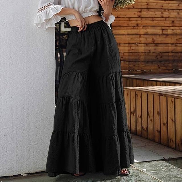 Vintage Women's Wide Leg Trousers ZANZEA 2021 Solid Pants Casual Elastic Waist Long Pantalon Palazzo Female Plus Size Turnip - A Black / XL