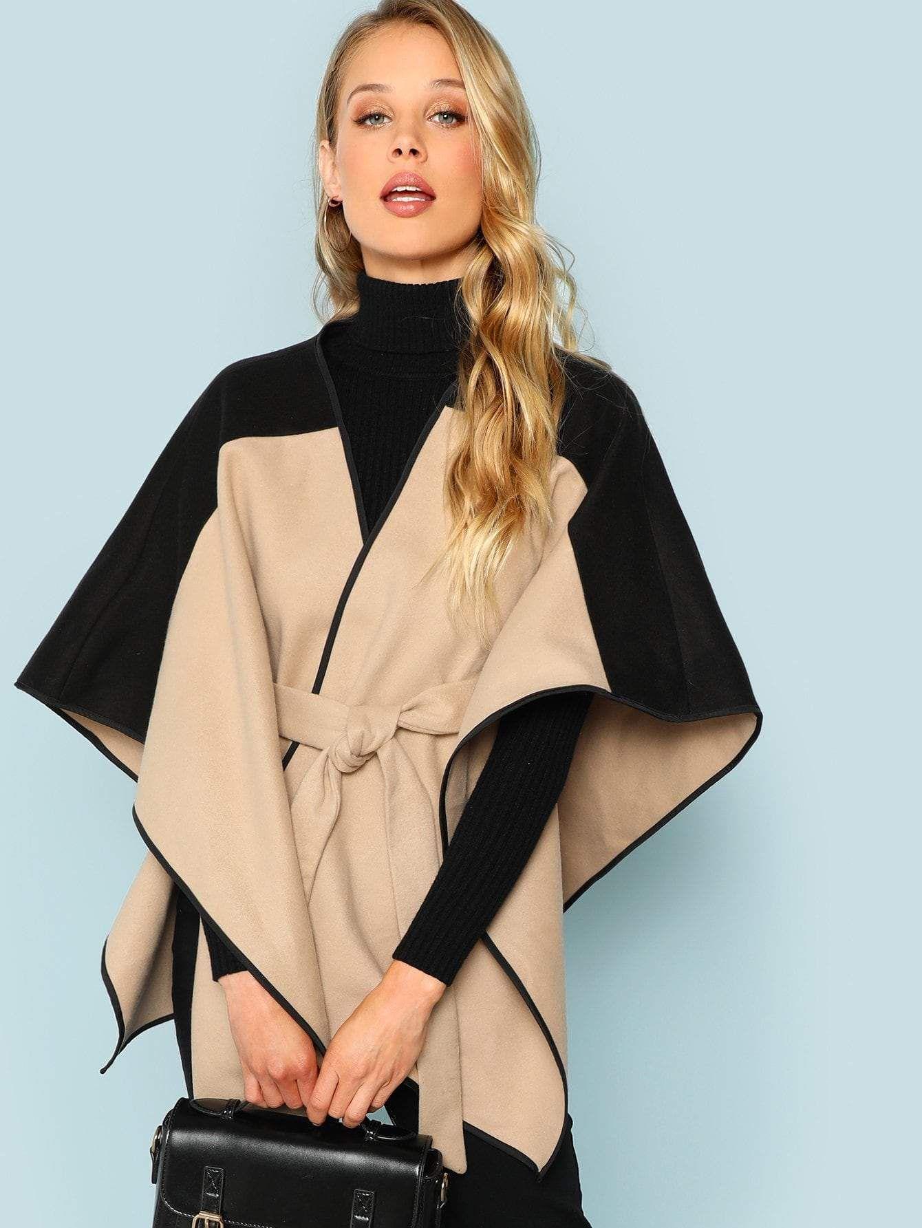 Two Tone Belted Poncho Coat - Khaki / L