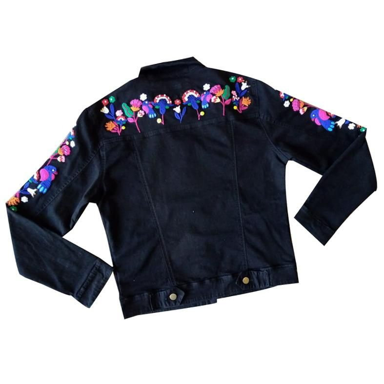 Embroidered Black Jean Jacket - URPI COLLECTION - Limited Edition - S/M