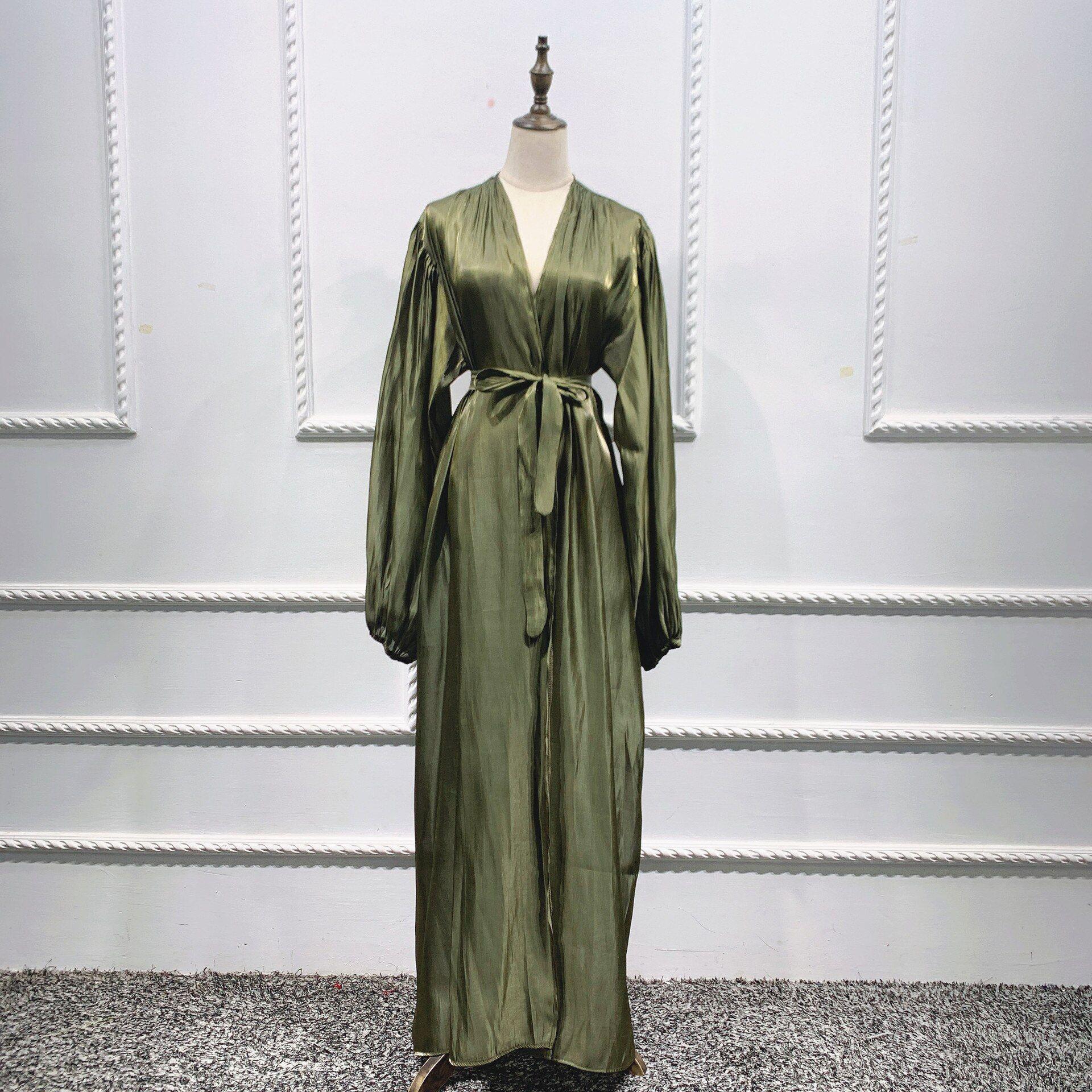 Muslim Dress Eid Abaya Bubble Sleeve Summer Dresses Abayas for Women Islamic Clothing - green / XL / United States