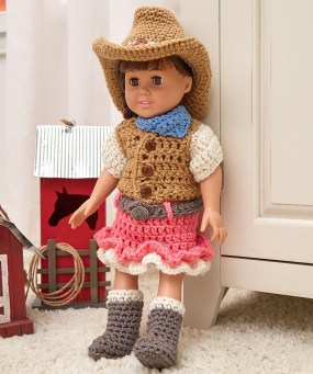 Crochet Baby Cowboy Hat And Boots Pattern Free Dollie Cowgirl Partner Red Heart