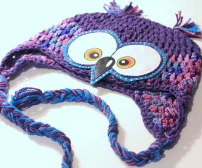 Crochet Owl Hat Pattern Purple Owl Hat Boys Girls Babies Photo Prop Hat Cotton Crochet