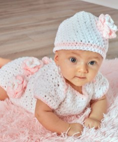 Free Crochet Patterns For Baby Hats Floral Onesie Hat Red Heart