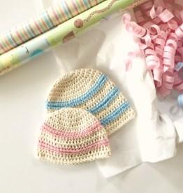 Newborn Crochet Hat Pattern Sweet Stripes Organic Cotton Ba Hat Little Monkeys Design