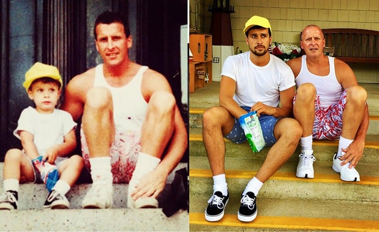 people who recreated their childhood photos