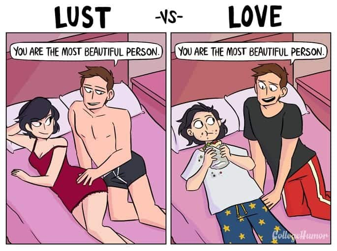 Love vs lust illustrations