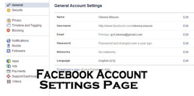 Facebook Account Settings Page - All You Need to Know