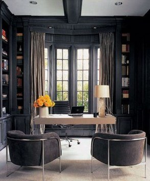 Best Home Office Ideas With Black Walls 12