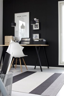 Best Home Office Ideas With Black Walls 31