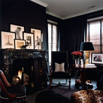 Best Living Room Ideas With Black Walls 41