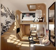 Contemporary Micro Apartment Organized With Boxes 20