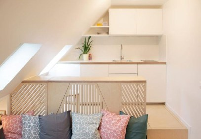 Contemporary Micro Apartment Organized With Boxes 21