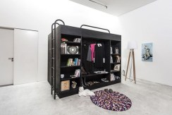 Contemporary Micro Apartment Organized With Boxes 29