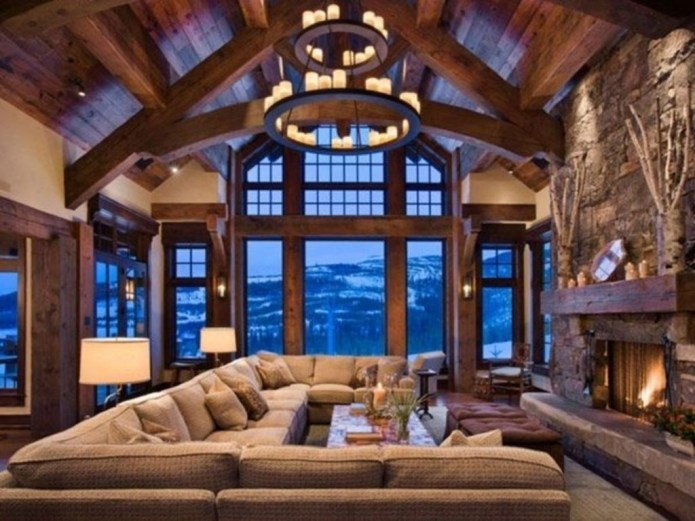 Comfy Winter Living Room Ideas With Fireplace 43