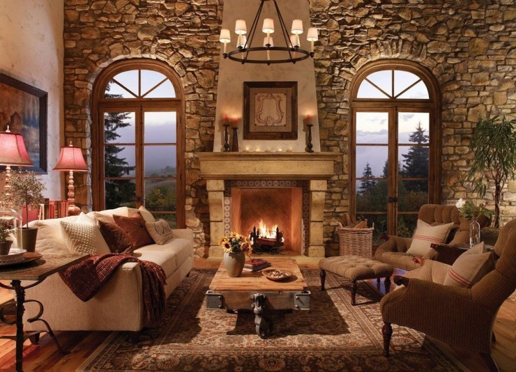 Comfy Winter Living Room Ideas With Fireplace 50
