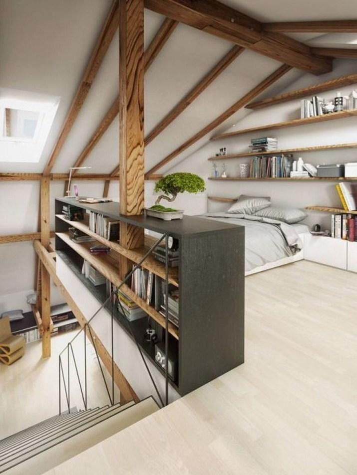 Relaxing Small Loft Bedroom Designs 51