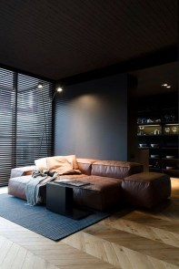 Catchy Living Room Designs Ideas With Bold Black Furniture 38
