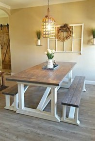 Cute Farmhouse Table Design Ideas Which Is Not Outdated 22