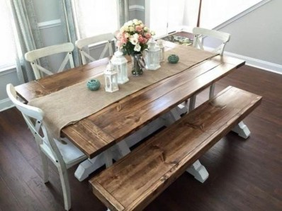 Cute Farmhouse Table Design Ideas Which Is Not Outdated 35